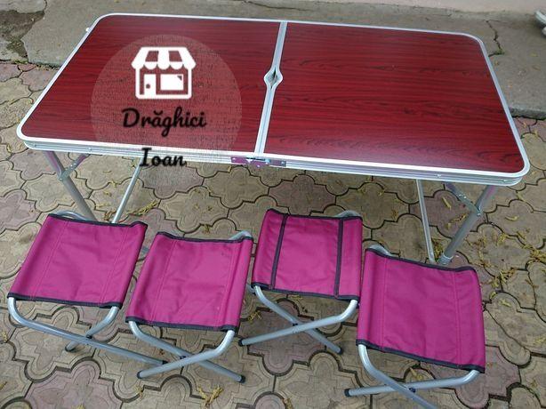 Masa aluminiu tip picnic pliabila cu 4 scaune pliabile - set complet