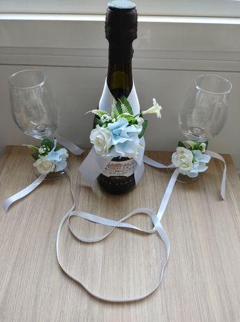 подвижна украса за сватбени шампанско и чаши