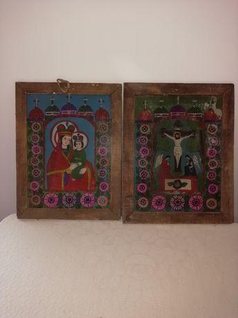 Vind tablouri foarte vechi pictate pe sticla am 9 bucăți sint din zon.