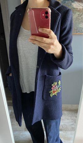 Palton Koton, marime 34, bleumarin cu aplicatii pe buzunare