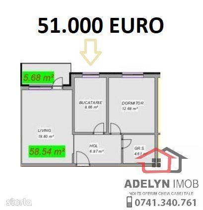 Tulcea -- Apartament 2 camere, bloc nou, METROPOLA