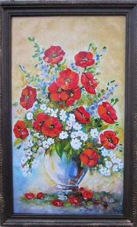 Tablou / Pictura ghiveci cu flori semnat Cimpoesu.