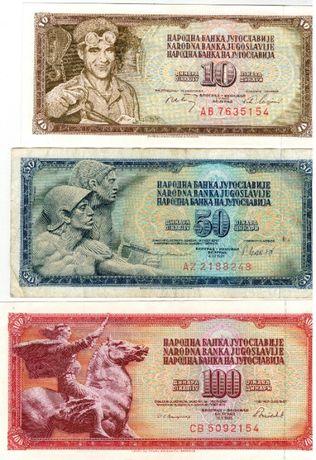 3 bancnote Iugoslavia-10,50,100 dinari 1968,1981,1986