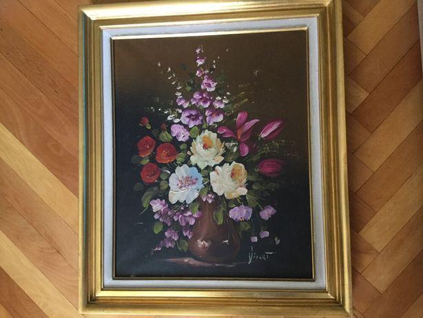 Tablou,pictura in ulei pe panza,vaza cu flori,semnat,rama din lemn