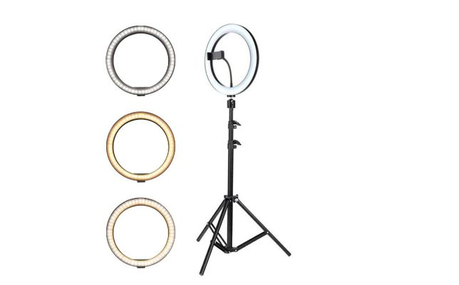 Lampa circulara LED lumina rece/calda trepied Ring Light 26/ 36 /46 cm