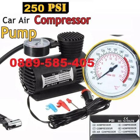 Електрически Компресор помпа за въздух на 12v за кола с манометър