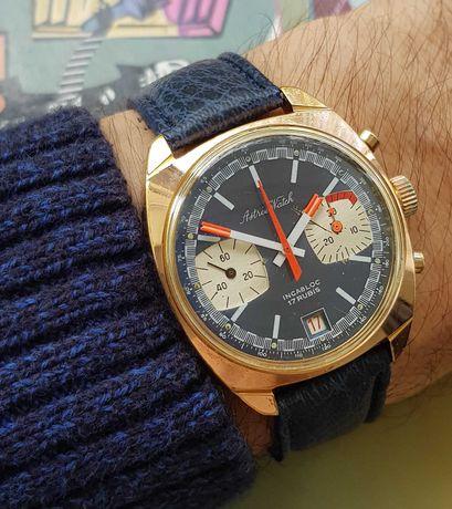 Astree Watch ceas cronograf elvetian panda Valjoux 7737 pl aur data