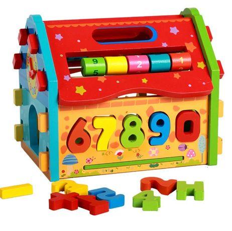 Разглобяема дървена къщичка конструктор с елементи и сметало