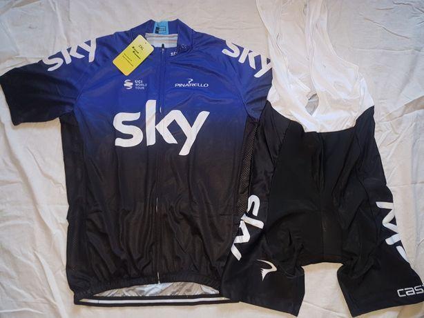 Echipament ciclism SKY 2019 NOU set tricou si pantaloni cu bretele