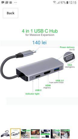 Usb C hub adaptor, HDMI 4K, porturi USB 3.0 MacBook/MacBook Pro