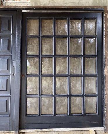 Usa casa vila firma intrare lemn geam termopan vitraliu H 213 x L 264