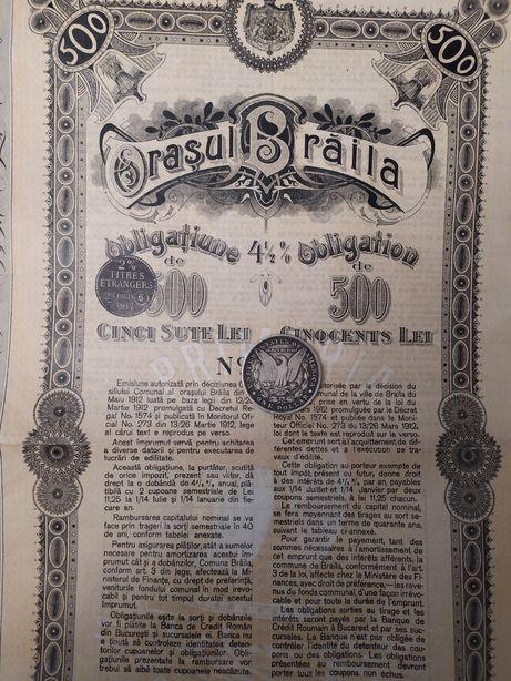 500 Lei 1912 Braila obligatiune municipala neincasata cu cupoane