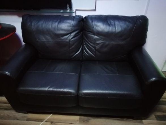 Двоика диван - Естествена телешка кожа - Уникално сьстояние - ( като