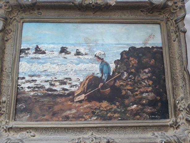 Tablou vechi interpretat semnat Pescarita la Granville