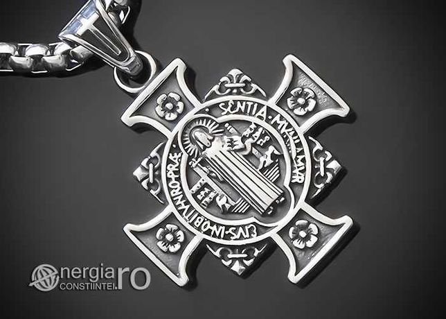 Medalion Colier Pandantiv Cruce Cruciuliță Sf. Benedict INOX - PND380