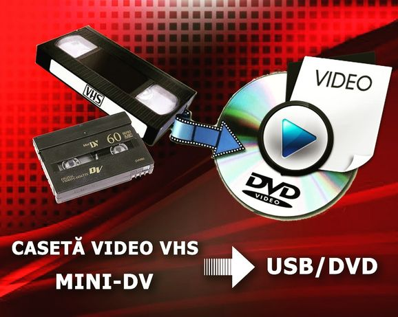 Transfer casete video VHS si Mini DV pe USB/DVD