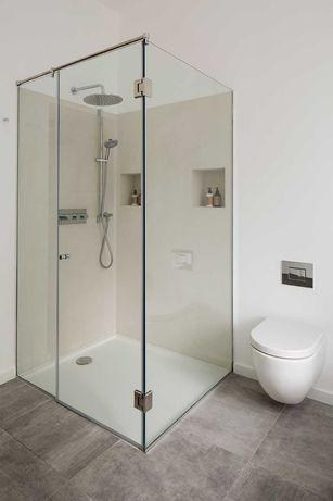Душевые кабины, перегородки, полки, двери, шторка для ванн из стекла