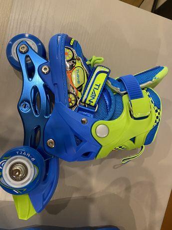 Детские роликовые коньки, 15 см по стельке, с наколенниками