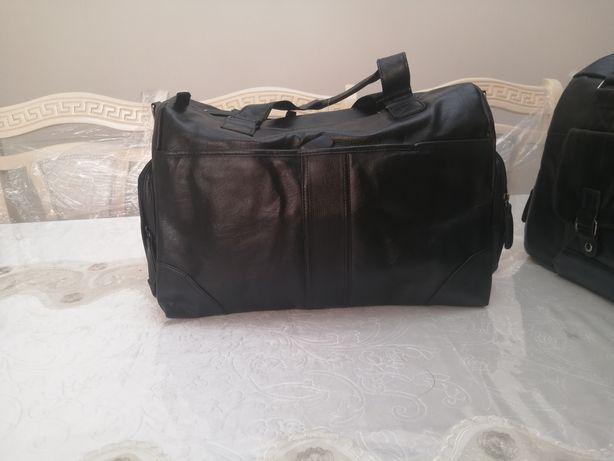 Кожанные дорожные мужские сумки