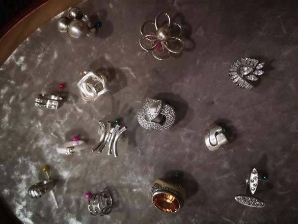Сребърни бижута гривни и пръстени