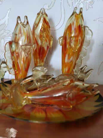 """Вазы """"Рыба"""" вазы из цветного стекла"""