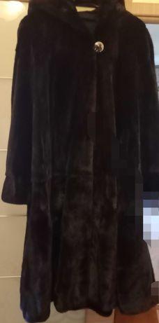 Шуба зимняя норковая из черного меха норки блекглама