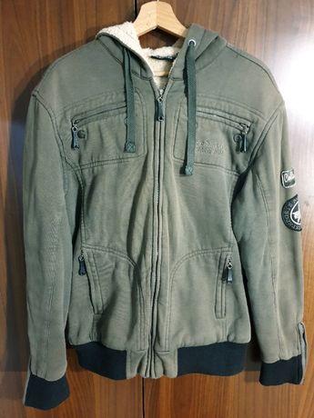 Мъжко топло зимно яке, класисечка кройка, цвят войнишко зелено