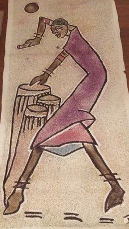 tablouri africane originale din nisip cu motive specifice Africii