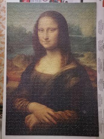 """Puzzle noriel 1000 piese 50x70 cm,, Monalisa"""" montat."""