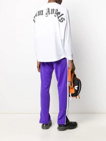 PALM ANGELS White Mock Neck Logo Oversized Мъжка Блуза size S (M / L)