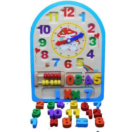 Ceas educativ din lemn 3 in 1 cu Numaratoare (Abac),jucarie educativa