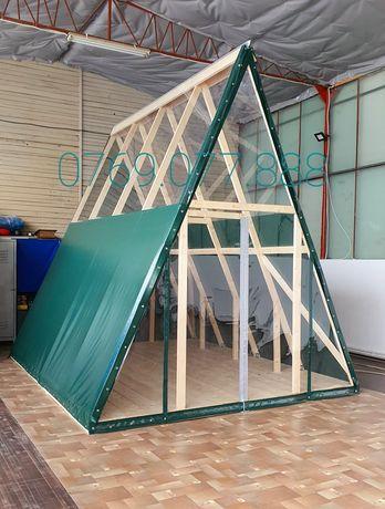 CORTURI,CĂSUȚE din prelată si folie transparentă pe structură de lemn