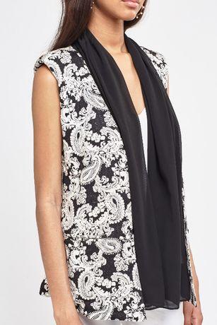 НОВО стилно сако с черен шал - текстуриран тоалет без ръкави с ПОДАРЪК
