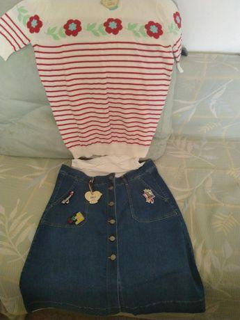 Нов комплект дънкова пола и блуза Mothercare, размер 14 UK