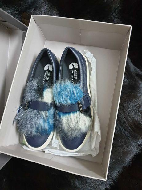 Pantofi/sneakers marca Geox, designer Patrick Cox,piele, blană