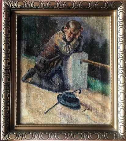"""Barbat care se roaga"" - Tablou vechi, u/pz, semnat si datat 1932."