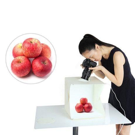 Cub foto pliabil lightbox cu leduri incorporate 40x40cm, 4 fundaluri