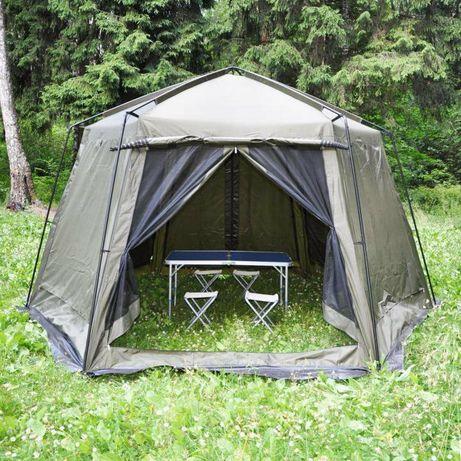 Палатка-шатер высокая на 7-8 чел с отличной вентиляцией ветроустойчив