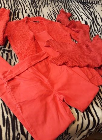 Комплект/цвят корал-Жилетка-Панталон/шал
