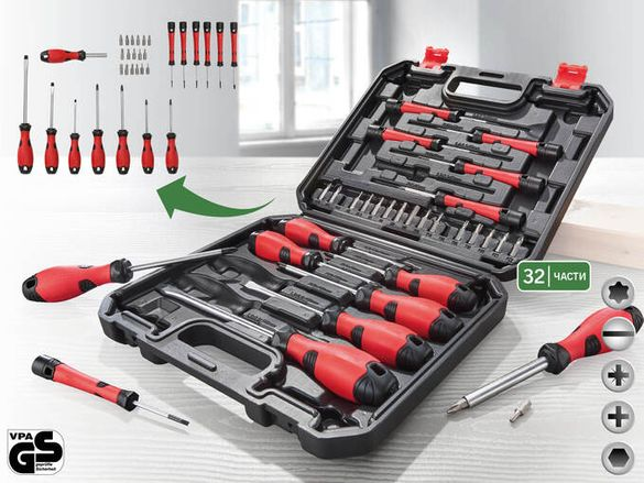 Комплект професионални отверткис с накрайници в куфар, 32 части