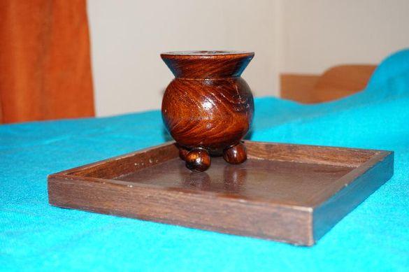 Свещник и поставка - дървени