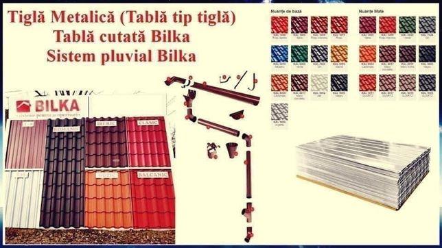 Tigla metalică(tabla tip tigla),tabla cutata si sistem pluvial Bilka