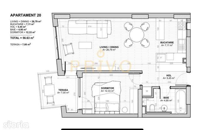 Apartament 2 camere, 56 mp, zona str. Traian.