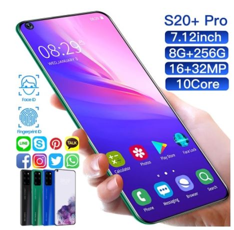 telefon S20+super telefon 7,2inchi,memorie 8+256gb,camere video !6+32m