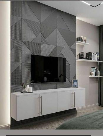 3Д панель из гипса и декоративный кирпич