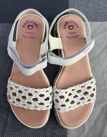 Sandale albe copii pablosky marime 36 sandale piele fetite