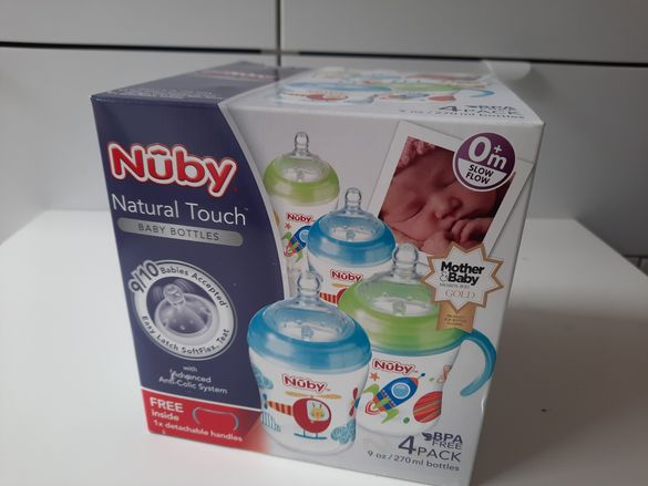 Nuby Natural Touch комплект 4 шишета + дръжка