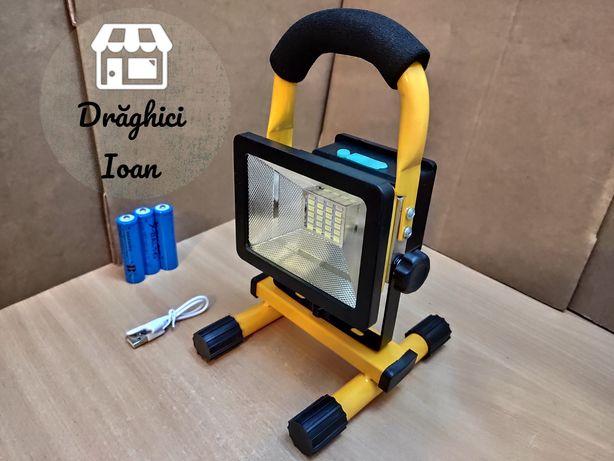 Proiector 30w ultra portabil,cadru metalic,cu acumulatori,reincarcabil