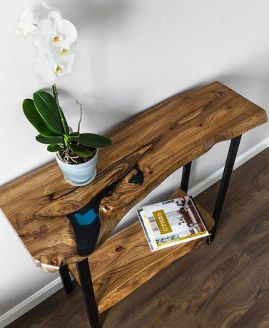 Столы, консоль в стиле лофт из натурального дерева