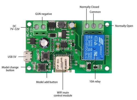 Sonoff WiFi реле/превключвател за DC 0-32v 10А, AC 90-250v 10А, инч/са